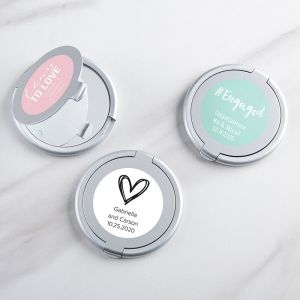 Personalized Wedding Silver Compact Mirror