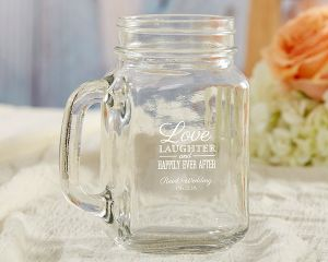 Personalized Wedding 16 OZ Mason Jar Mug