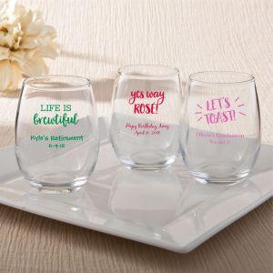 Celebration Design 9 oz Stemless Wine Glasses