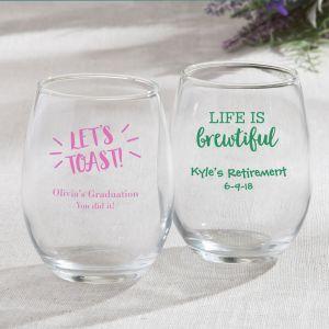 Celebration Design 15 oz Stemless Wine Glasses