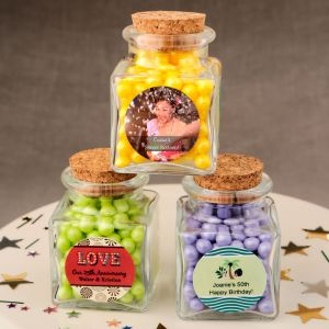 Personalized Square Clear Glass Treat Jar Party & Birthday Party Favors