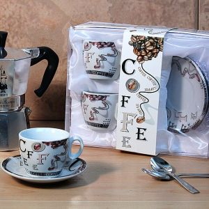 Set of 2 Espresso Cup and Saucer Coffee Design