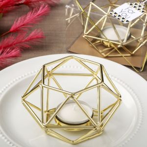 Gold Geometric Candle Wedding Favors
