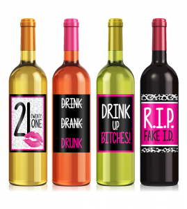 Pink 21st Birthday Wine Label Set